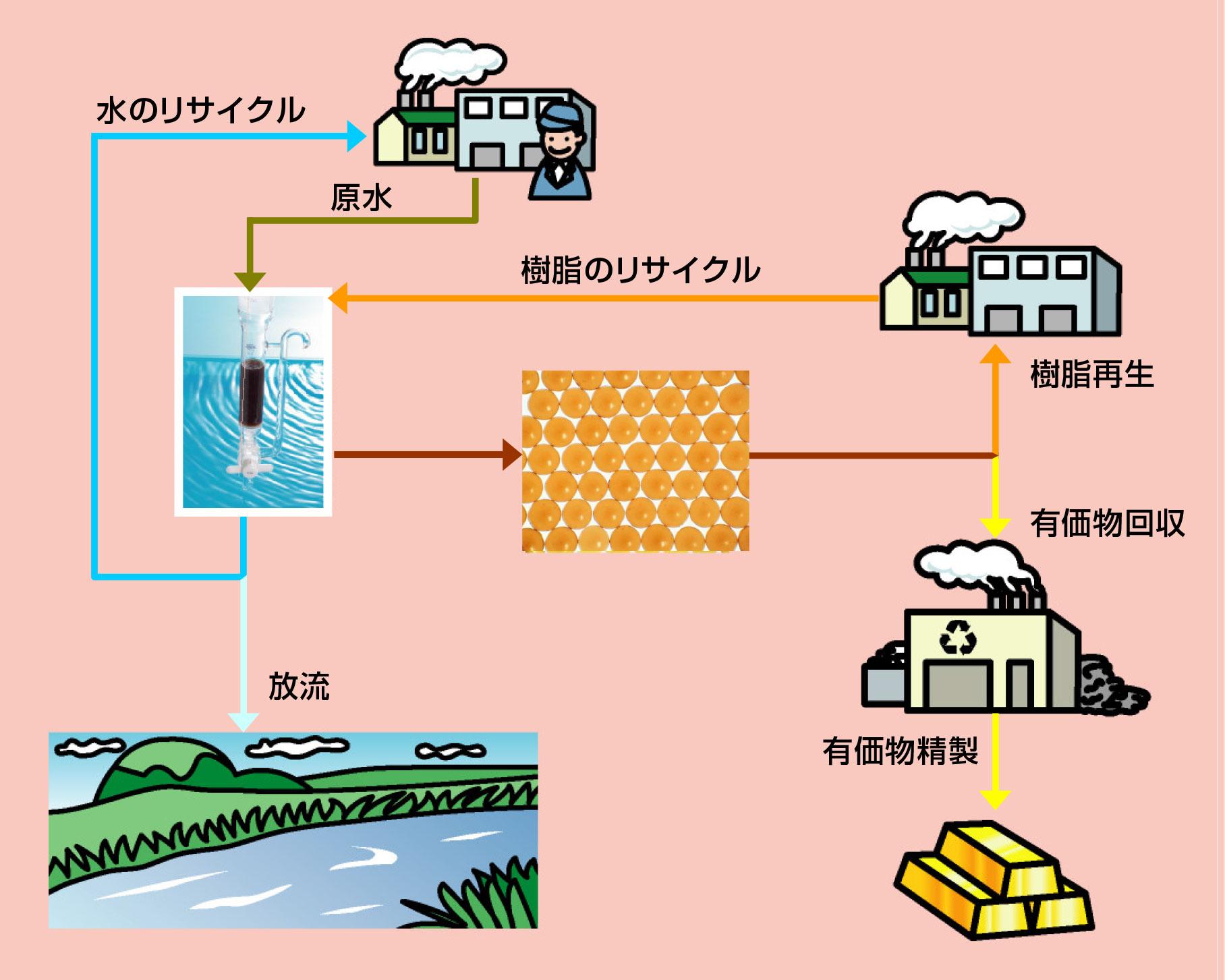 イオン交換樹脂を用いた有価物回収 フロー