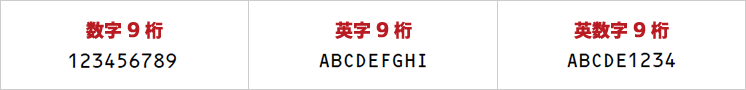 OCRフォントサンプル(OCR-B)